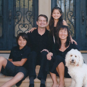 Rosa Kwon Easton with husband and children