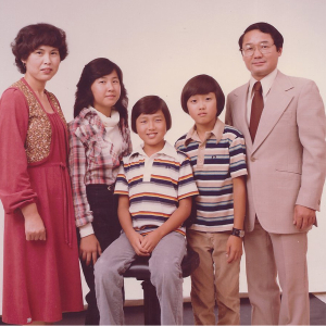 Rosa Kwon Easton with parents and siblings