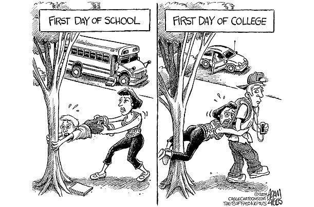 first day of college cartoon