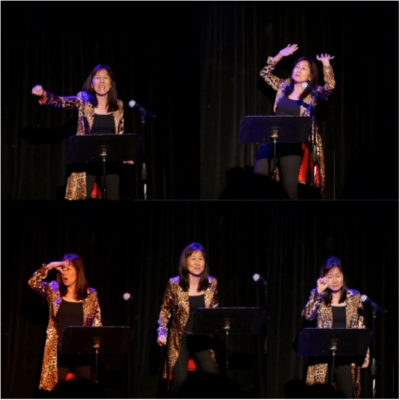 Rosa Kwon Easton on stage at Expressing Motherhood event