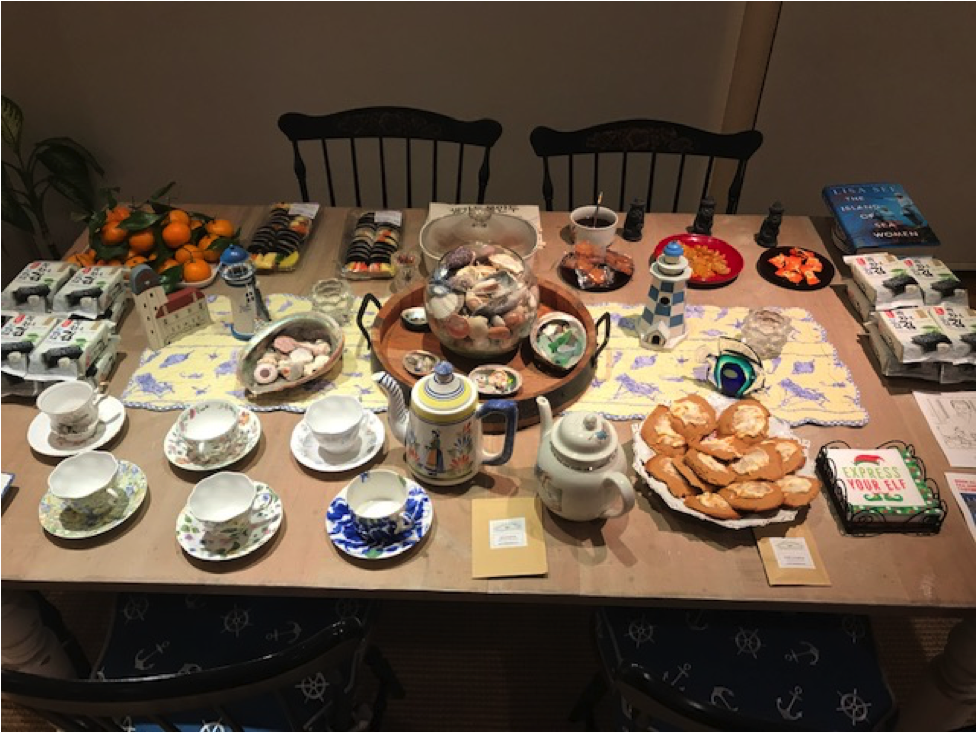 Table with Korean tea and snacks